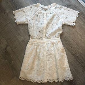 Love Shack Fancy Mini White Eyelet Dress